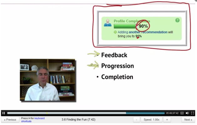 ScreenCap of Gamification Lecture 3 by Kevin Werbach with LinkedIn completness bar