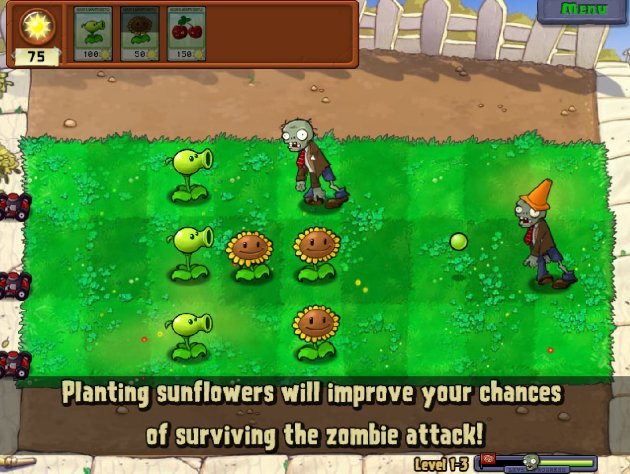 "ScreenCap from game ""Plants vs Zombies"""