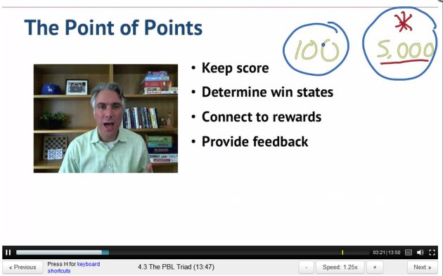 ScreenCap from Gamification Lecture 4 by Kevin Werback of Coursera and the Wharton School