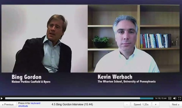 ScreenCap from Gamification Lecture 4 by Kevin Werback of Coursera and the Wharton School - Interview with Bing Gordon