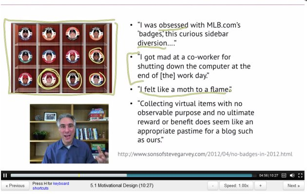 ScreenCap of Majorleague Baseball Badges, 2011, from Gamification, 2012, by Kevin Werbach / Coursera, Wharton School