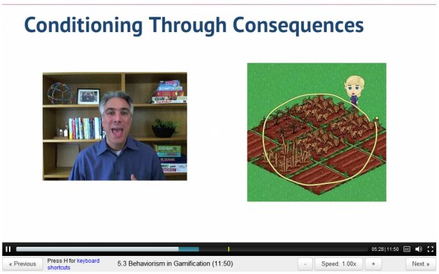 ScreenCap of Gamification lecture 5 by Kevin Werbach, showing Farmville crops withering and dying from lack of water