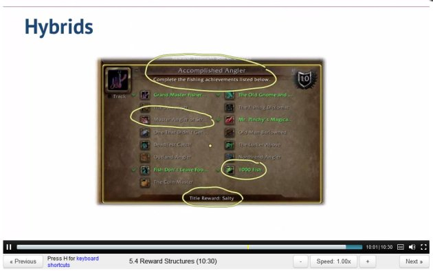 ScreenCap of Gamification lecture 5 by Kevin Werbach showing World of Warcraft fishing achievements screen