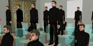 photo of about a dozen similar looking male avatars all dressed in black